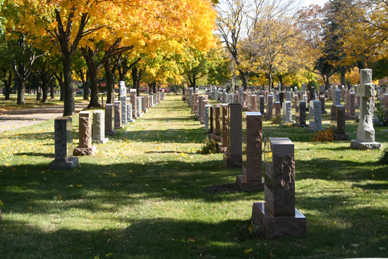 View of headstones at Holy Sepulchre Cemetery