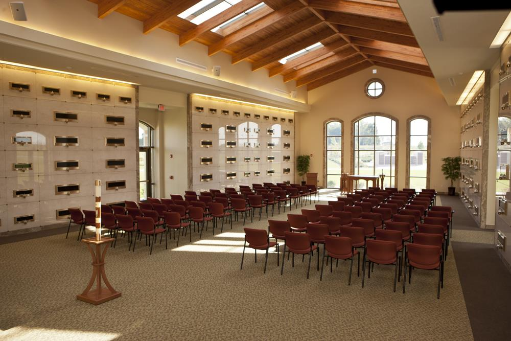 Chapel interior with chairs set up in rows