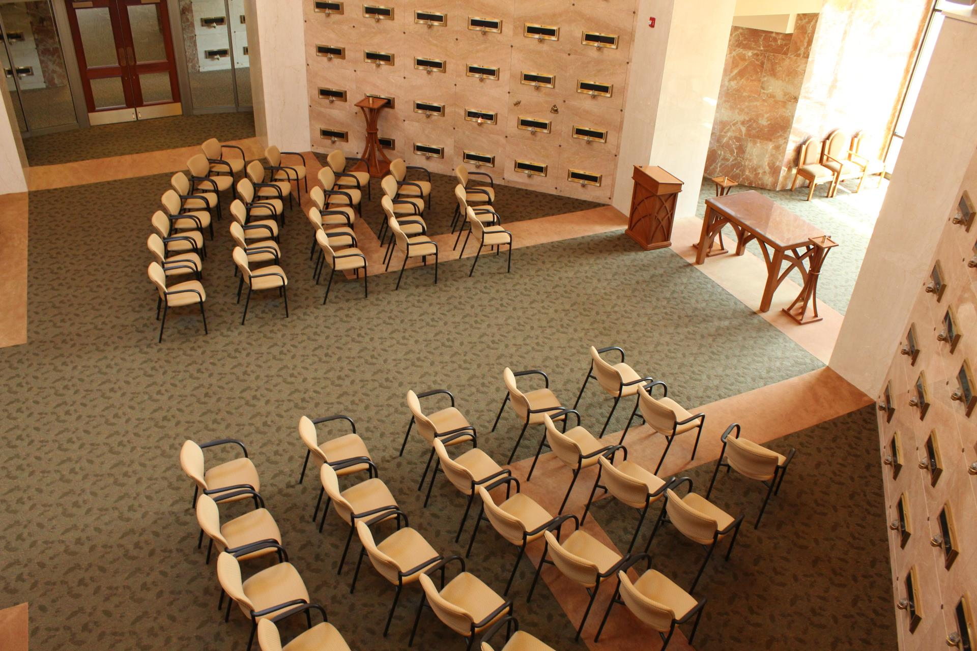 chapel interior with seats set up for a service